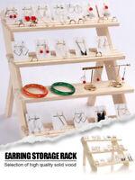 Jewelry Display Tray Earring Doll Holder Organizer Shelf Solid Wood Floor Ladder