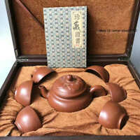 Marked Old Chinese Yixing Zisha Pottery Carved Tea cup Teapot Kettle