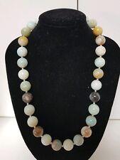Vintage 12mm 368 Ct Aqua Amazonite Stone Bead Beaded Necklace 73 Grams