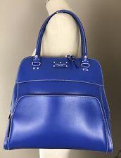 KATE SPADE Large Wellesley Maeda Blue Leather Satchel/Bag Front Zip Pocket LN!