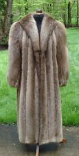 GORGEOUS Full Length Canadian Beaver Fur Coat Tuxedo Collar EXC Inside & Out