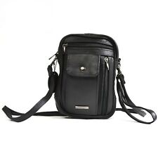 MENS GENTS SOFT NAPPA LEATHER SHOULDER ACCESSORIES TRAVEL PASSPORT BAG BLACK