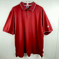 Mens L Adidas Climalite Stretch Short Sleeve Golf Polo Shirt Red Cotton Blend