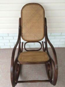 Vintage Bentwood Rocking Chair Wood Cane Thonet Style