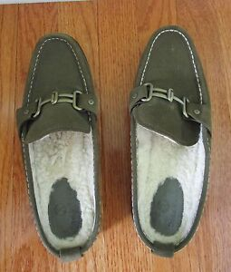 Cole Haan Womens Fur Lined Driving Loafer Shoes Suede Size 7.5 Weatherproof