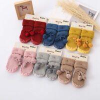 Baby Fluffy Ball Non-slip Cotton Toddler Floor Socks Kids Shoes Slipper Socks