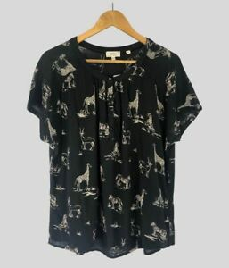 Fat Face Lizzie Safari Animals Relaxed Short Sleeve Blouse Top Size 16 18