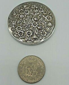 Vintage Stieff Kirk Repoussé Floral Sterling Silver Dresser Purse Mirror 59.3g