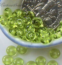 Coin Disk Beads, 4mm, Olivine Green w/Frosted Finish, Czech Spacer Bead, 50 Pcs