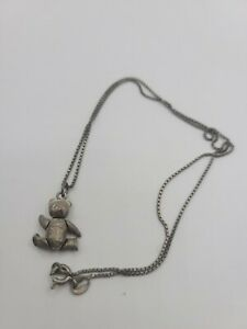 """Sterling Silver TEDDY BEAR Movable Articulated Pendant Sterling Necklace 17"""".  V"""