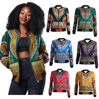 Women African Dashiki Print  Jacket Long Sleeve Zipper Coat Short Casual Jacket