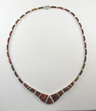 ".950 fine silver red opal necklace 18"" long"
