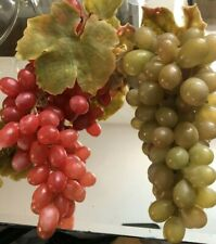 Vintage Artificial  Green & Red Grapes Grapevine Rubber  ( 2 Clusters )