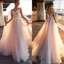 New Beach Country Lace Appliques A Line Wedding Dresses Tulle Bridal Gowns Dress