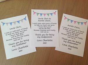 Personalised Thank you for being my our Godmother Godfather Godparents Poem Card
