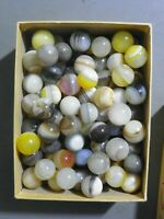 Agate Marbles 4 Pieces 3/4 to 7/8 Inch Mostly Banded Mix Colors Vintage Gemstone