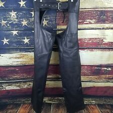 Hudson Leather Unisex Black Leather Zip / Snap Up Motorcycle Riding Chaps XS