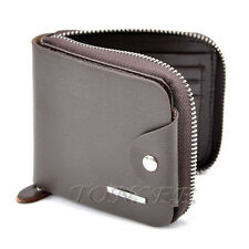 Men Leather Zipper Wallet Pockets Money Purse ID Credit Card Clutch Bifold Brown