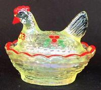 Boyd Art Glass Hand Painted Vaseline Carnival Chick Salt Christmas 2003