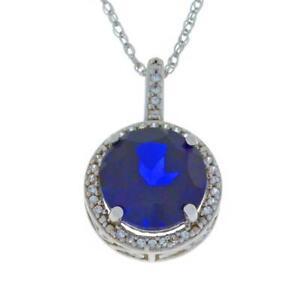 3.5 Carat Blue Sapphire & White Sapphire Round Pendant .925 Sterling Silver