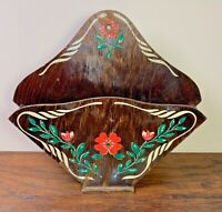 Vintage Folk Art Wood Wall Hanging Shelf Diamond Floral Scandinavian Pocket