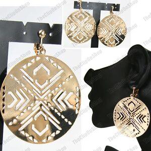 CLIP ON mirror AZTEC  CUTOUT metal DISC geometric EARRINGS gold/silver fashion