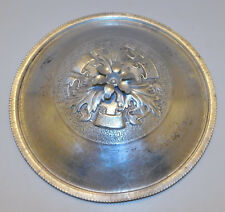 "Vintage Forged Hammered Aluminum Lid Dish Cover 8"" Diameter Flower Knob Handle"