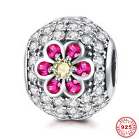 925 Streling Silver & Crystal Rhinestone Flower Beads Charms Fine Jewelry