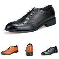 Brogue Mens Dress Formal Faux Leathers Shoes Pointy Toe Wing Tip Carved Oxford L