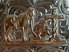 Praying Cowboy Belt. Hand Engraved Nickel Silver Jewlers Bronze
