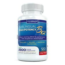 High Potency Fast-Acting Vitamin B12 2500mcg 120 Fruit Punch Sublingual Tablets