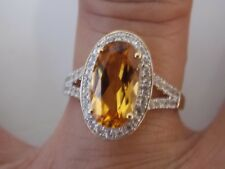 Center Citrine with Side Halo Settings White Sapphire Ring on 14K YG by Allura