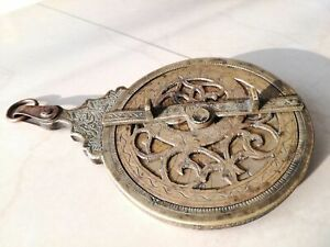 RARE Antique 1800 brass or bronze astrolabe sundial decorated graved