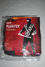 Boys Halloween Costume NINJA FIGHTER Black Silver COMPLETE OUTFIT Size L 10-12