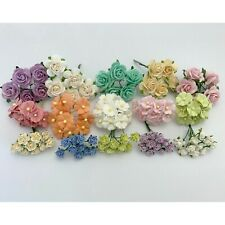 125 MIXED 3 Sizes of Open Rose Craft Paper Flower (R2/6/11-Kit Pastel-1)
