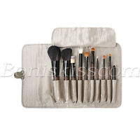 10pcs Wooden Handle Natural Wool Foundation Brush Eye Makeup Brushes With Bag