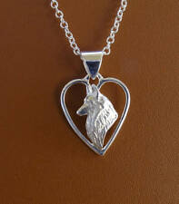 Sterling Silver Belgian Tervuren  Belgian Sheepdog Head Study On A Heart Pendant