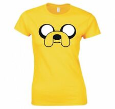 """ADVENTURE TIME """"JAKE THE DOG, FACE"""" LADIES T-SHIRT NEW"""
