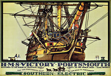 HMS Victory Portsmouth Southern Electric Railway Train Rail Travel  Poster Print