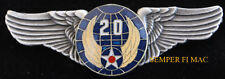 20TH US AIR FORCE ARMY AIR CORPS LARGE XL WING PIN VETERAN GIFT PILOT CREW WOW