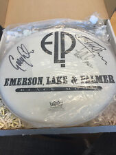 """ELP Emerson lake and Palmer and Palmer signed drum head REMO 14"""""""