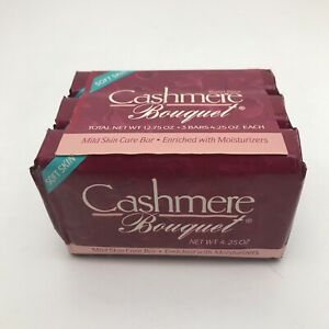 Vintage Cashmere Bouquet Mild Beauty Bar Soap Soft Skin NEW 4oz Lot Of 3 NOS