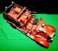 """Fire Truck Tin Car Vintage Red  blechmodell Handmade & Painted 16"""" x 6"""""""