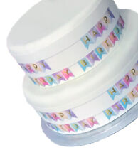 Happy Birthday Bunting Border A4 Decor Icing Sheet Edible Cake Topper Decoration