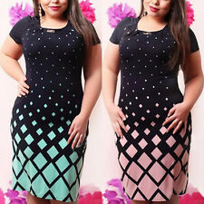 Plus Size M-6XL Women Summer Short Sleeve Party Cocktail Casual Mini Slim Dress
