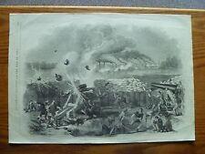Civil War-1861-ORIGINAL - Engraving of Bombardment of Fort Henry-16 x 22 1/2