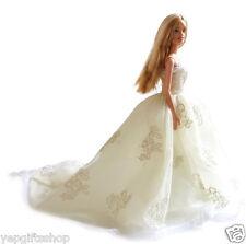 Handmade Barbie Princess Chapel Train Tulle Wedding Dress with Lace