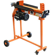 5 Ton Electric Log Splitter Wood Hydraulic Cutter With Caster Stand and Duoblade