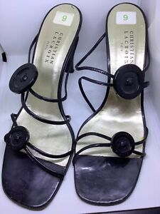 Christian Lacroix black strappy shoe size 9