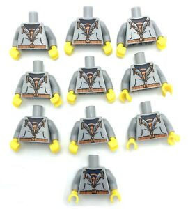 LEGO 10 NEW LIGHT BLUISH GREY MINIFIGURE TORSOS HOODIE ZIPPER BOY SWEAT SHIRT